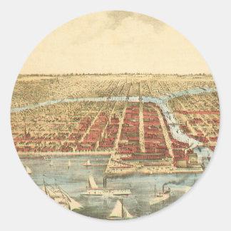 Mapa antiguo de Chicago de la calle de LaSalle y Pegatina Redonda