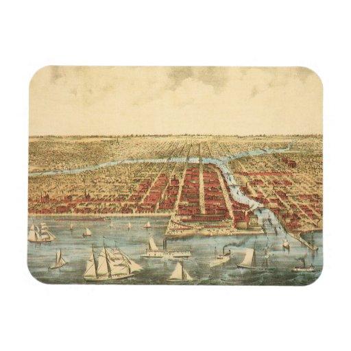 Mapa antiguo de Chicago, de la calle de LaSalle y Rectangle Magnet