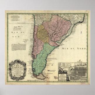 Mapa antiguo de Chile y de Paraguay 1733 Impresiones