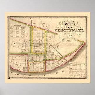 Mapa antiguo de Cincinnati Ohio Póster