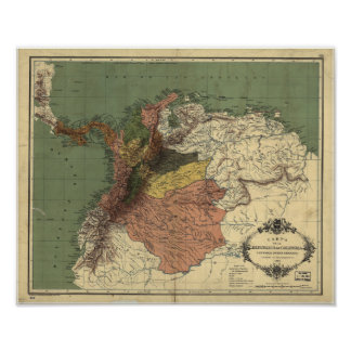 Mapa antiguo de Colombia - Panamá 1886 Póster