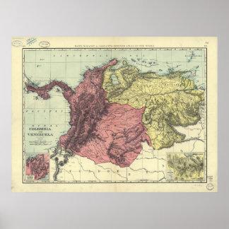 Mapa antiguo de Colombia y de Venezuela 1898 Posters