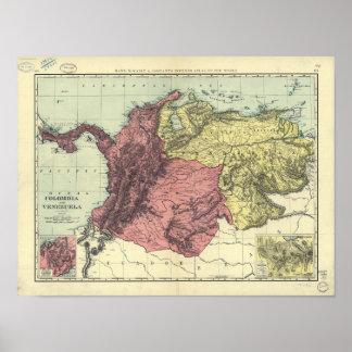 Mapa antiguo de Colombia y de Venezuela 1898 Póster