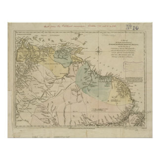 Mapa antiguo de Curaçao, Bonaire, Aruba, Suriname Póster