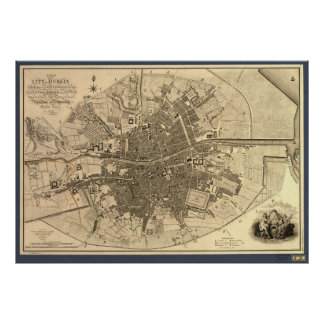 Mapa antiguo de Dublín Irlanda, 1797 Posters
