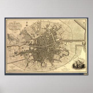 Mapa antiguo de Dublín Irlanda, 1797 Póster