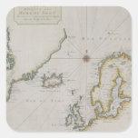 Mapa antiguo de Escandinavia 2 Calcomanía Cuadradas