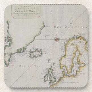 Mapa antiguo de Escandinavia 2 Posavasos De Bebidas