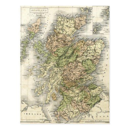 Mapa antiguo de Escocia Postal