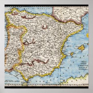 Mapa antiguo de España y de Portugal circa 1700 s Impresiones