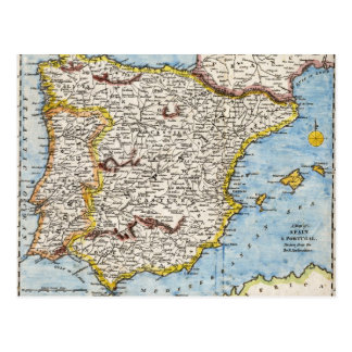 Mapa antiguo de España y de Portugal circa 1700 s Tarjetas Postales