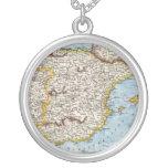 Mapa antiguo de España y de Portugal circa 1700s Collares Personalizados