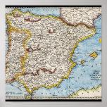 Mapa antiguo de España y de Portugal circa 1700's Impresiones