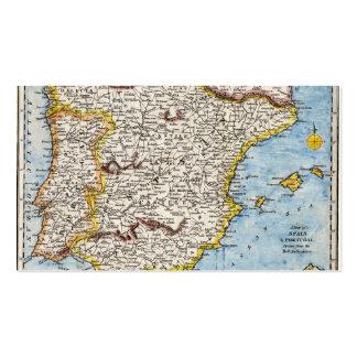 Mapa antiguo de España y de Portugal circa 1700s Tarjetas De Visita