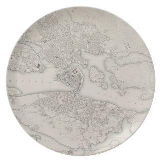 Mapa antiguo de Estocolmo, Suecia Platos Para Fiestas