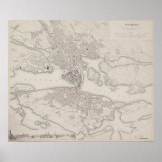 Mapa antiguo de Estocolmo, Suecia Póster