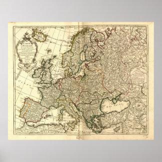 Mapa antiguo de Europa 1769 Poster