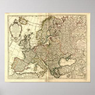 Mapa antiguo de Europa 1769 Póster