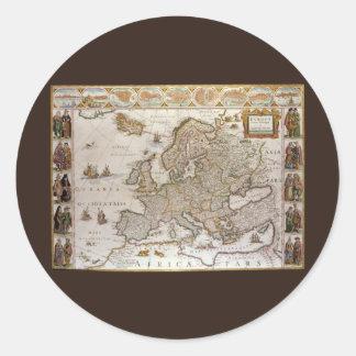 Mapa antiguo de Europa c1617 de Willem Jansz Blae Etiquetas