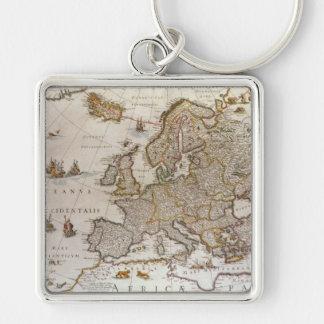 Mapa antiguo de Europa, c1617 de Willem Jansz Llavero Cuadrado Plateado