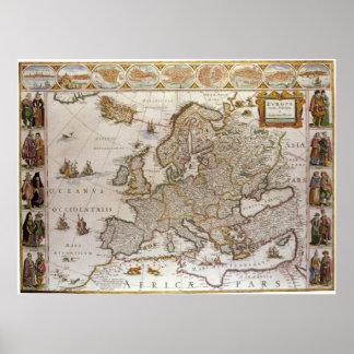 Mapa antiguo de Europa, c1617 de Willem Jansz Póster