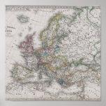 Mapa antiguo de Europa circa 1862 Impresiones