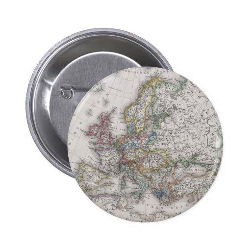 Mapa antiguo de Europa circa 1862 Pin