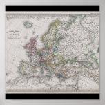 Mapa antiguo de Europa circa 1862 Posters
