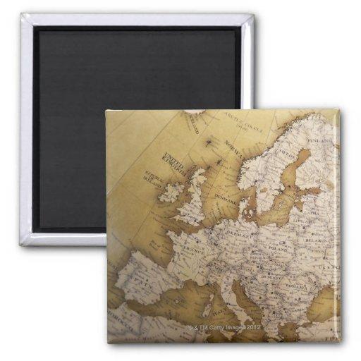 Mapa antiguo de Europa. Mundo viejo Imán De Nevera