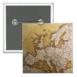 Mapa antiguo de Europa. Mundo viejo Pin Cuadrado