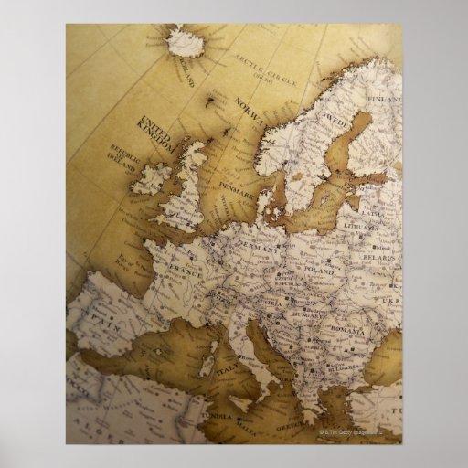 Mapa antiguo de Europa. Mundo viejo Póster