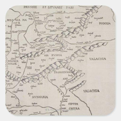 Mapa antiguo de Europa Oriental Pegatina Cuadrada