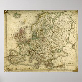 Mapa antiguo de Europa Póster