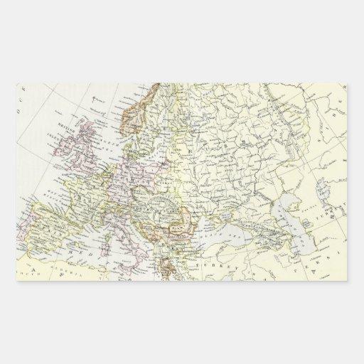 Mapa antiguo de Europa Rectangular Pegatina