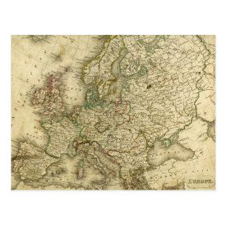 Mapa antiguo de Europa Tarjeta Postal