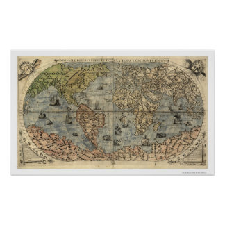 Mapa antiguo de Forlani del mundo de Pablo Forlani Póster