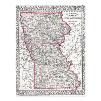 Mapa antiguo de Iowa y de Missouri circa 1874 Tarjetas Postales
