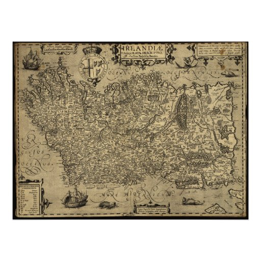 Mapa antiguo de Irlanda 1606 Poster