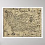 Mapa antiguo de Irlanda Ortelius dibujado por Baoz Posters