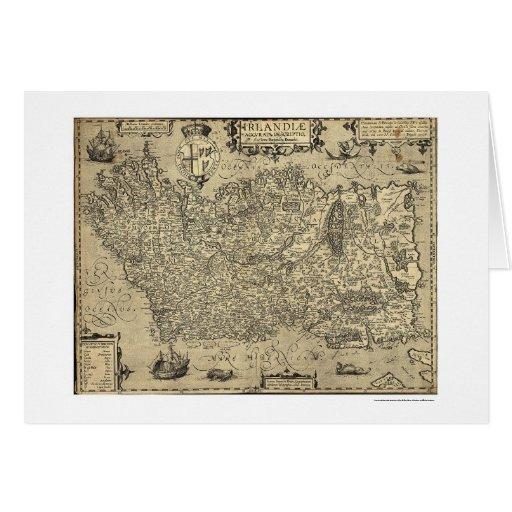 Mapa antiguo de Irlanda Ortelius dibujado por Baoz Felicitaciones