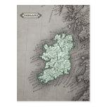 Mapa antiguo de Irlanda, verde Postales