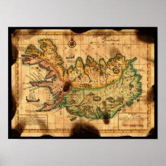 Mapa antiguo de Islandia Posters