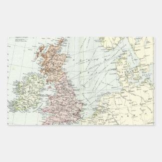 Mapa antiguo de islas británicas y de los mares ci rectangular pegatina