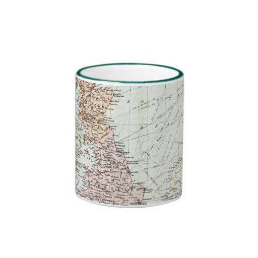 Mapa antiguo de islas británicas y de los mares ci tazas