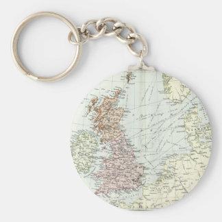 Mapa antiguo de islas británicas y de los mares llavero redondo tipo pin