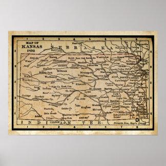 Mapa antiguo de Kansas Póster