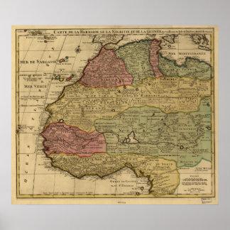 Mapa antiguo de la África del Norte 1742 Póster