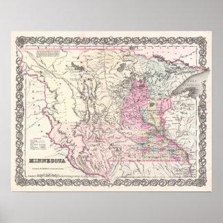 Mapa antiguo de la decoración del vintage de póster