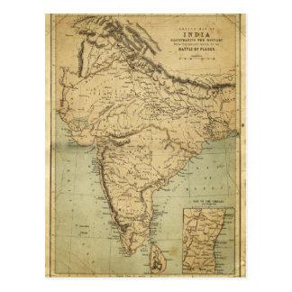 Mapa antiguo de la India en el siglo XIX Postales