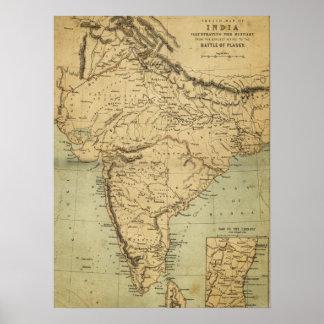 Mapa antiguo de la India en el siglo XIX Póster